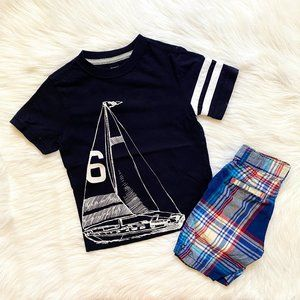 Gymboree Little Boys Sailboat Tee & Plaid Shorts 5